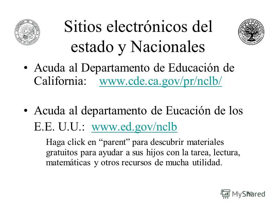 50 Sitios electrónicos del estado y Nacionales Acuda al Departamento de Educación de California: www.cde.ca.gov/pr/nclb/www.cde.ca.gov/pr/nclb/ Acuda al departamento de Eucación de los E.E. U.U.: www.ed.gov/nclbwww.ed.gov/nclb Haga click en parent pa