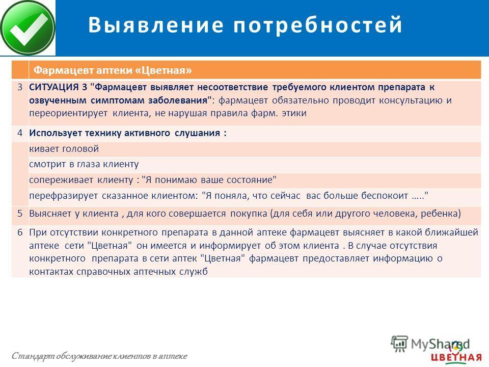 Выявление потребностей Стандарт обслуживания клиентов аптеки Фармацевт аптеки «Цветная» 3СИТУАЦИЯ 3