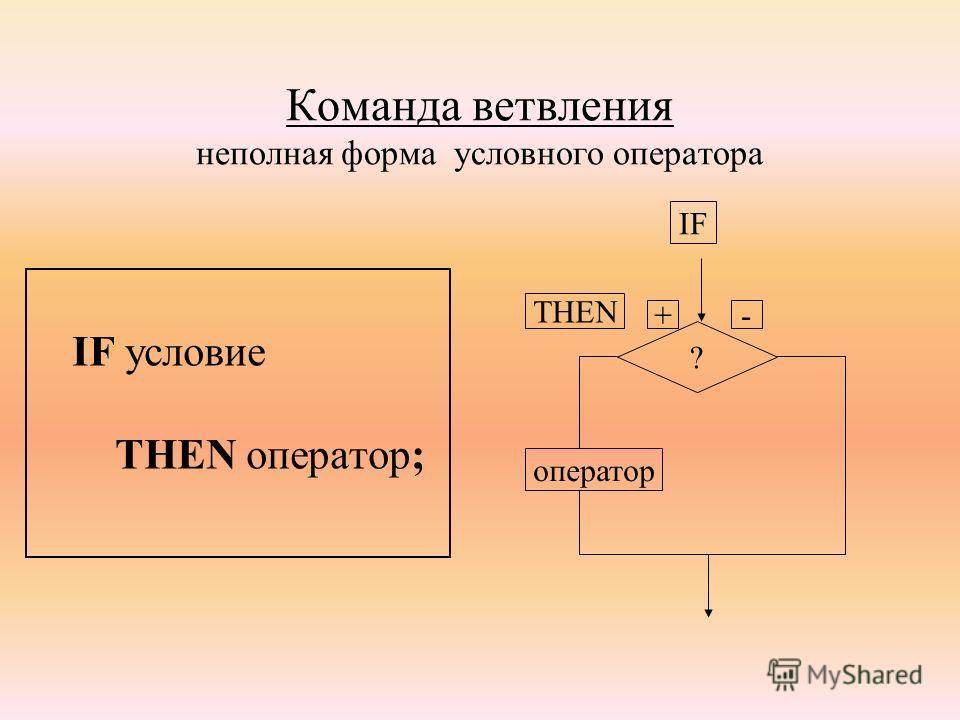 Команда ветвления неполная форма условного оператора IF условие THEN оператор; ? оператор IF THEN +-