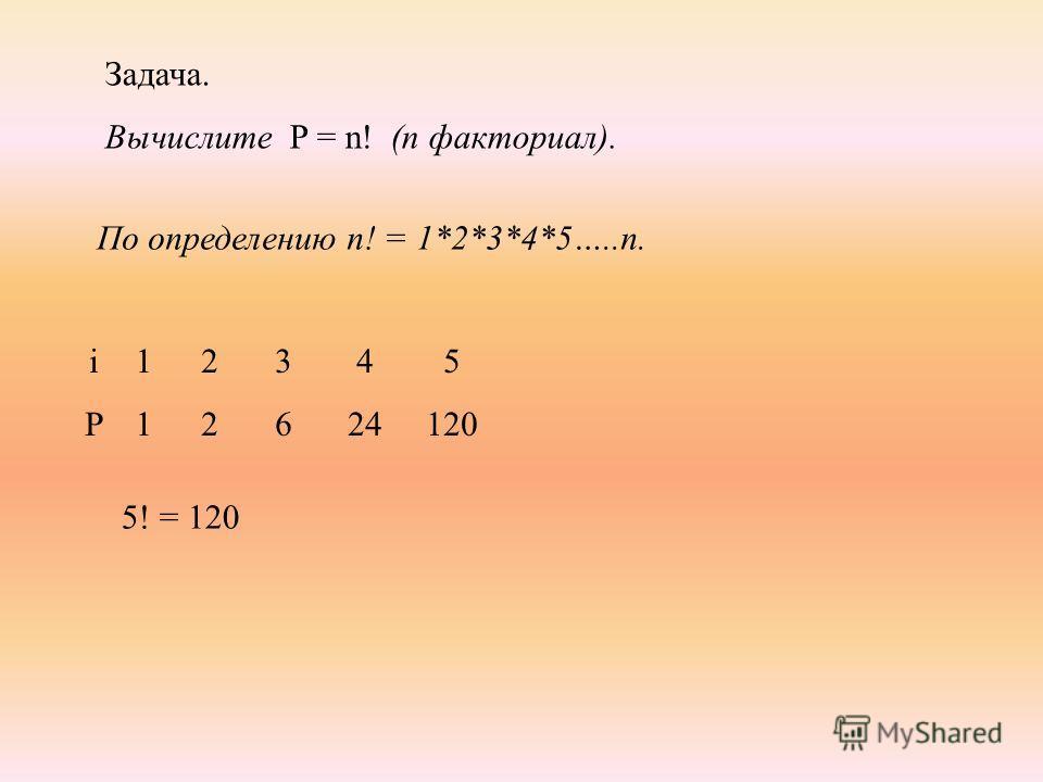 Задача. Вычислите P = n! (n факториал). По определению n! = 1*2*3*4*5…..n. 2222 3636 4 24 1111 iPiP 5 120 5! = 120