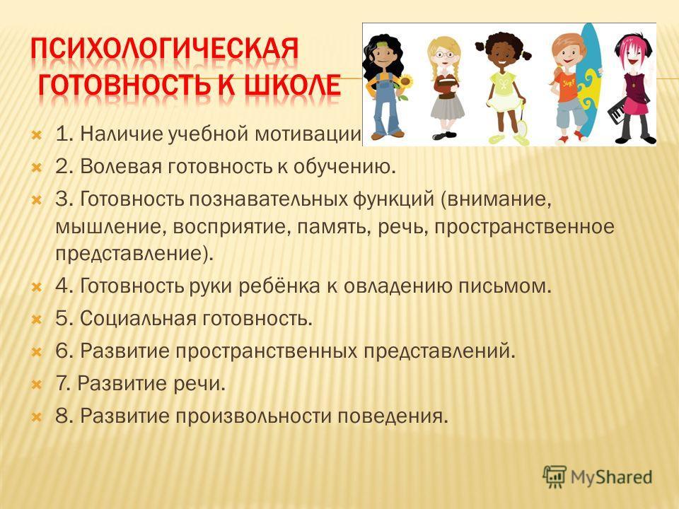 1. Наличие учебной мотивации. 2. Волевая готовность к обучению. 3. Готовность познавательных функций (внимание, мышление, восприятие, память, речь, пространственное представление). 4. Готовность руки ребёнка к овладению письмом. 5. Социальная готовно