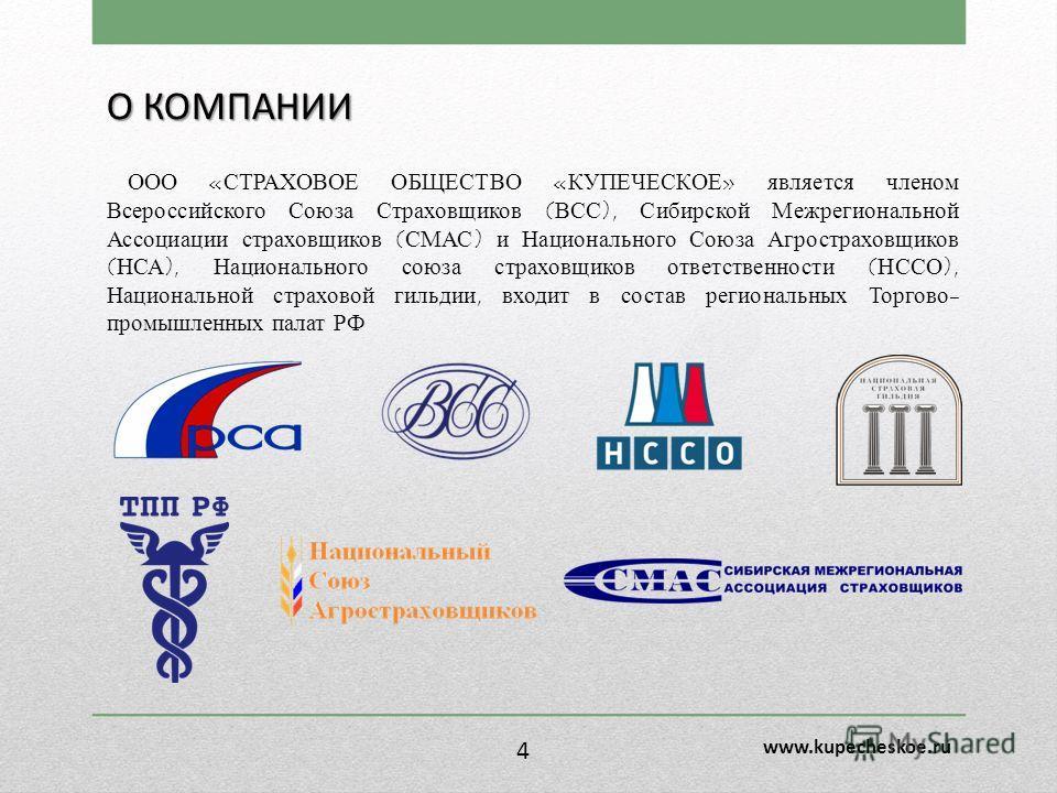 О КОМПАНИИ ООО «СТРАХОВОЕ ОБЩЕСТВО «КУПЕЧЕСКОЕ» является членом Всероссийского Союза Страховщиков (ВСС), Сибирской Межрегиональной Ассоциации страховщиков (СМАС) и Национального Союза Агростраховщиков (НСА), Национального союза страховщиков ответстве