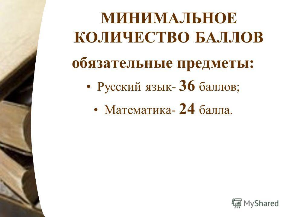 МИНИМАЛЬНОЕ КОЛИЧЕСТВО БАЛЛОВ обязательные предметы: Русский язык- 36 баллов; Математика- 24 балла.