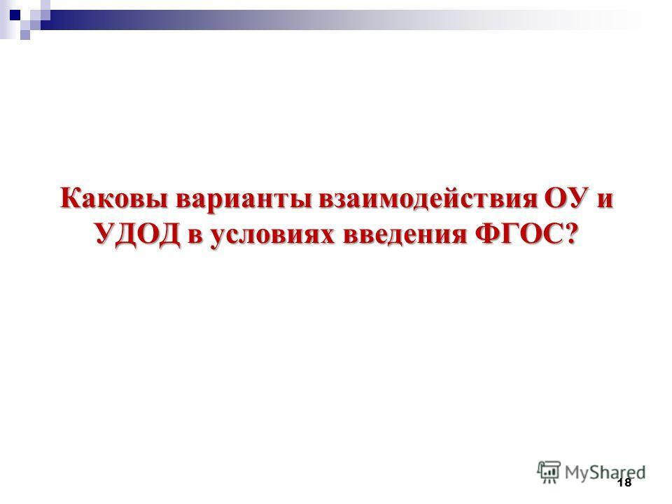 Каковы варианты взаимодействия ОУ и УДОД в условиях введения ФГОС? 18