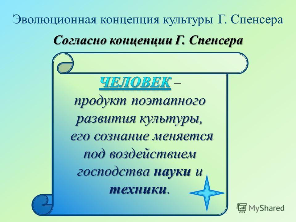 Эволюционная концепция культуры Г. Спенсера Согласно концепции Г. Спенсера