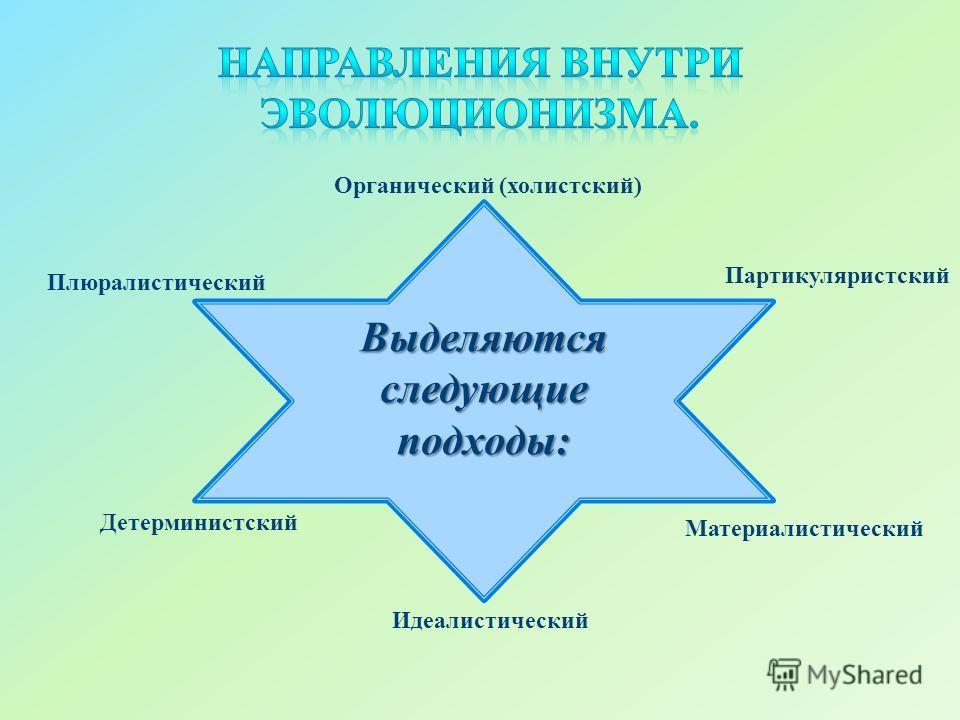 Выделяются следующие подходы: Партикуляристский Материалистический Идеалистический Детерминистский Плюралистический Органический (холистский)