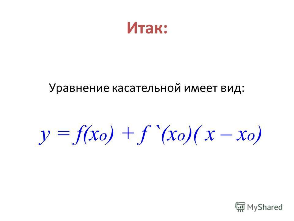 Итак: Уравнение касательной имеет вид: y = f(x o ) + f `(x o )( x – x o )