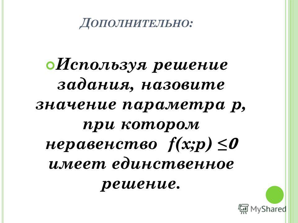 Д ОПОЛНИТЕЛЬНО : Используя решение задания, назовите значение параметра p, при котором неравенство f(x;p) имеет единственное решение.
