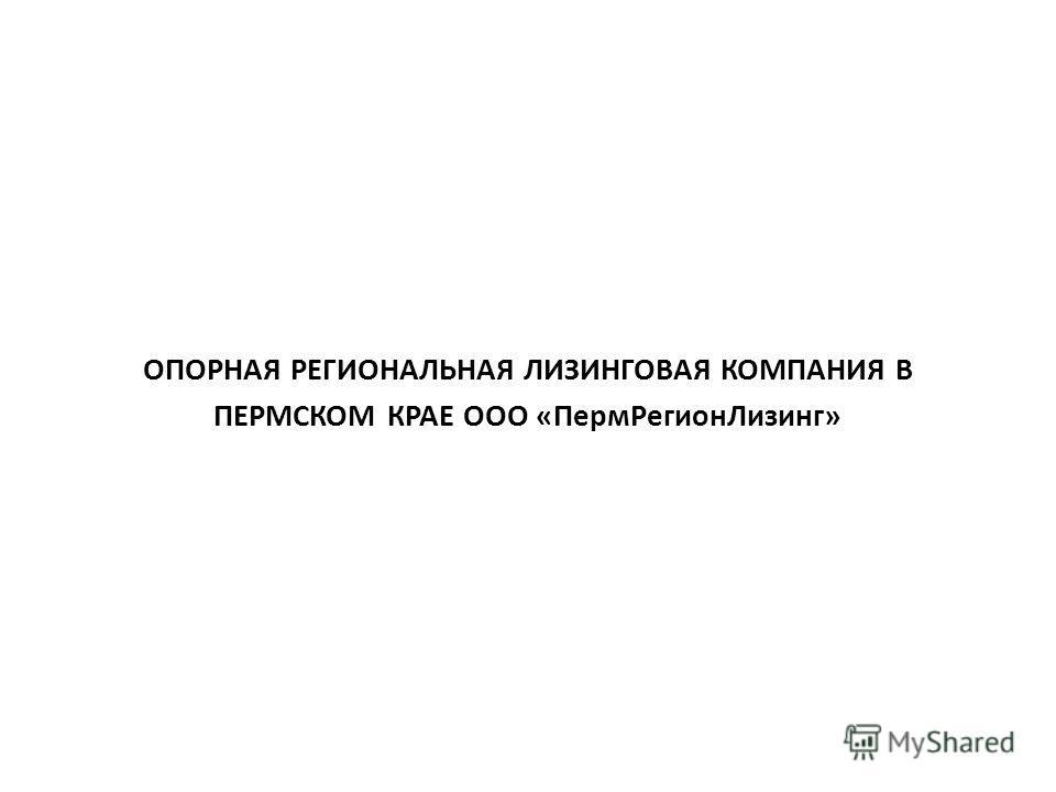 ОПОРНАЯ РЕГИОНАЛЬНАЯ ЛИЗИНГОВАЯ КОМПАНИЯ В ПЕРМСКОМ КРАЕ ООО «ПермРегионЛизинг»