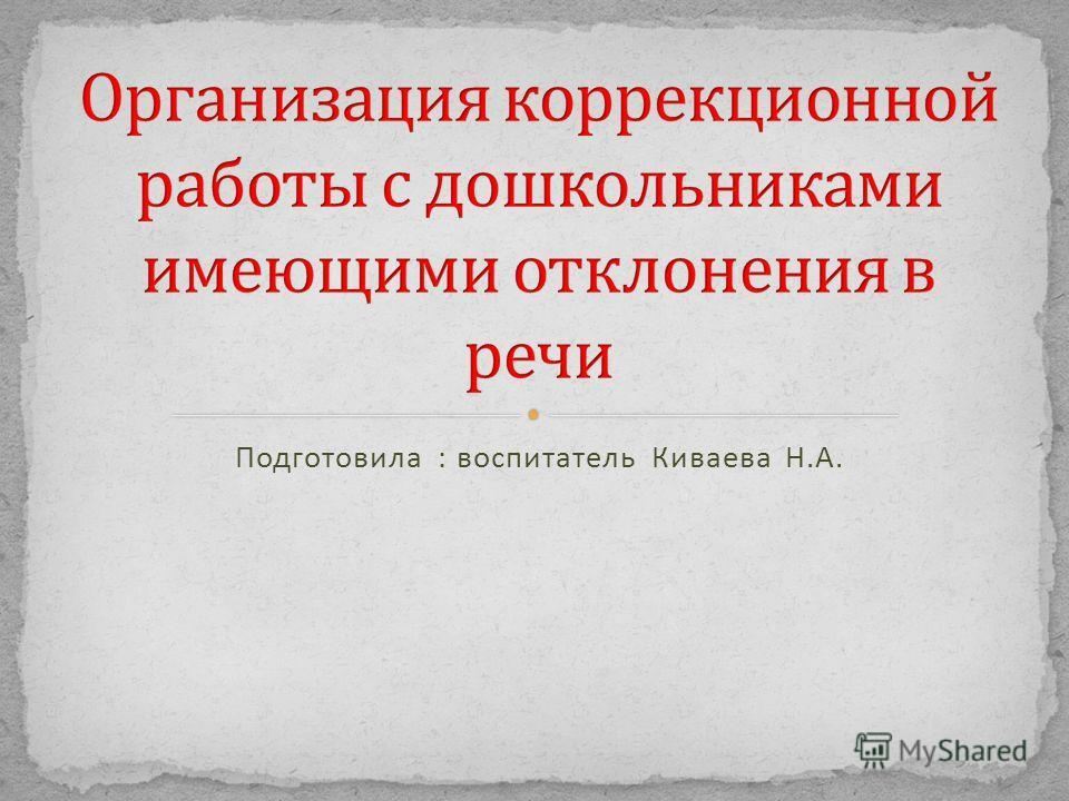 Подготовила : воспитатель Киваева Н. А.