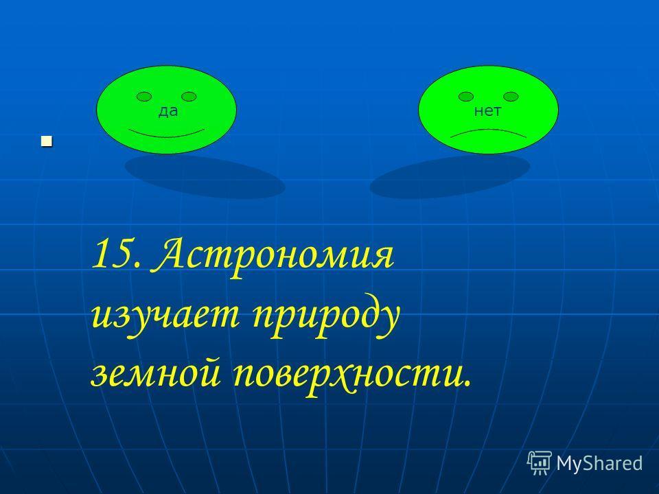 данет 15. Астрономия изучает природу земной поверхности.