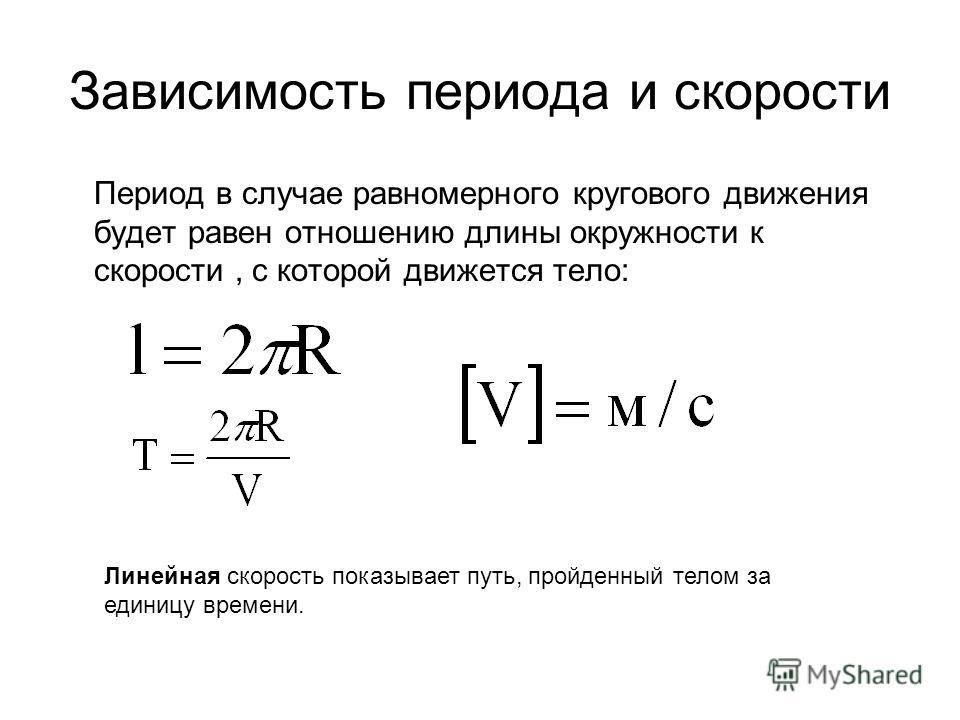 Зависимость периода и скорости Период в случае равномерного кругового движения будет равен отношению длины окружности к скорости, с которой движется тело: Линейная скорость показывает путь, пройденный телом за единицу времени.