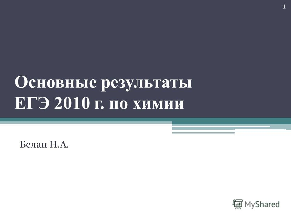 Основные результаты ЕГЭ 2010 г. по химии Белан Н.А. 1