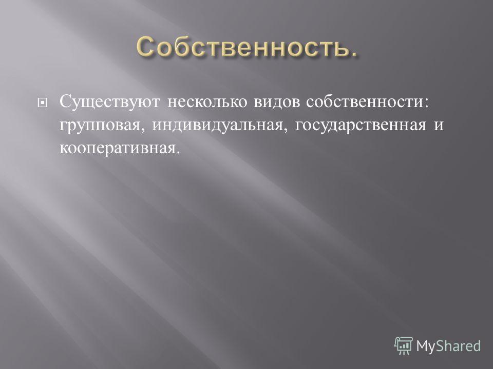 Существуют несколько видов собственности : групповая, индивидуальная, государственная и кооперативная.