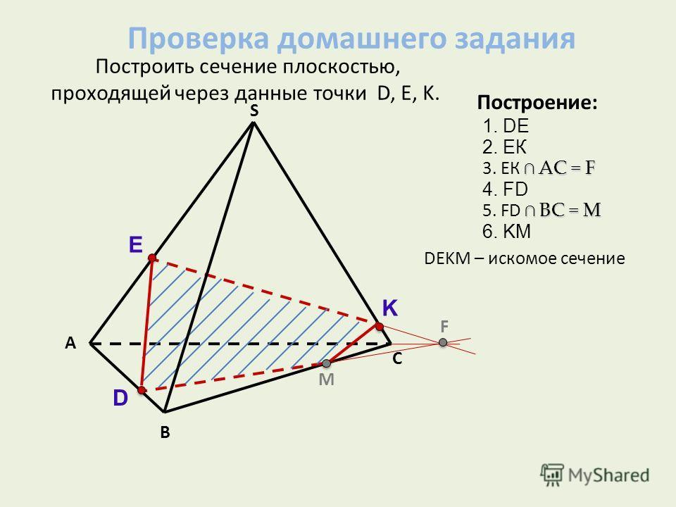 А В С S Построить сечение плоскостью, проходящей через данные точки D, Е, K. D E K M F Построение: 2. ЕК АС = F 3. ЕК АС = F 4. FD BС = M 5. FD BС = M 6. KM 1. DE DЕKМ – искомое сечение Проверка домашнего задания