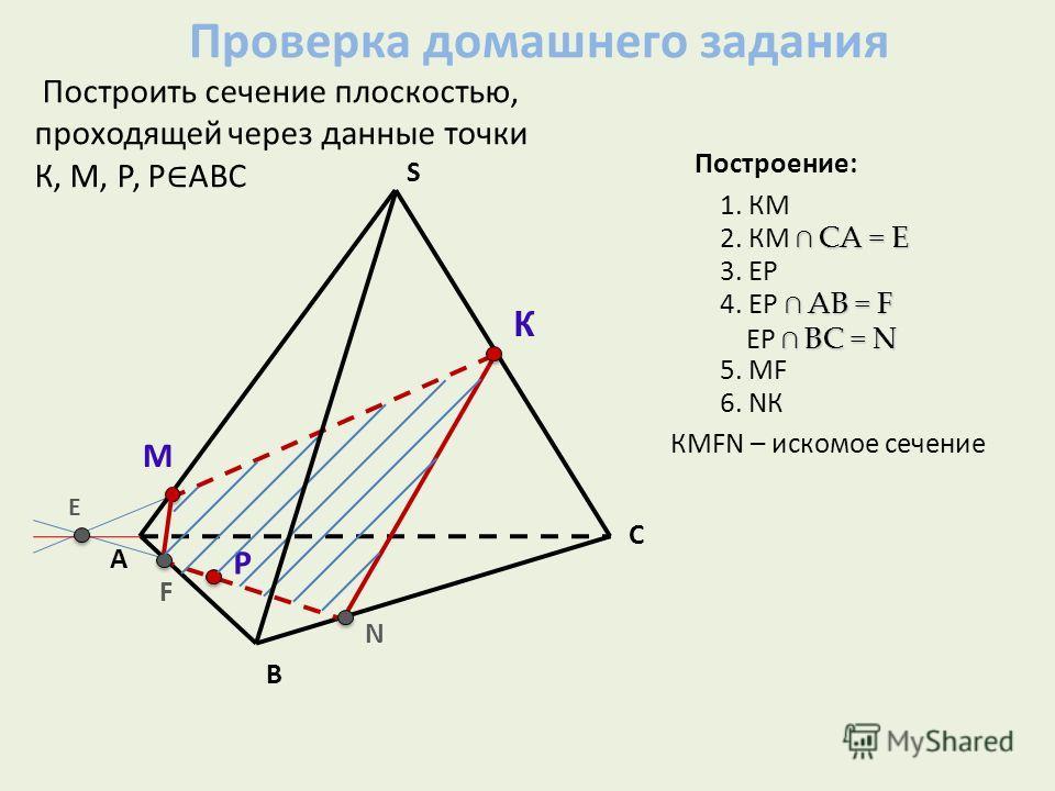 А В С S Построить сечение плоскостью, проходящей через данные точки К, М, Р, Р АВС К М Р Е N F Построение: 1. КМ СА = Е 2. КМ СА = Е 3. EР АВ = F 4. ЕР АВ = F ВC = N ЕР ВC = N 5. МF 6. NК КМFN – искомое сечение Проверка домашнего задания