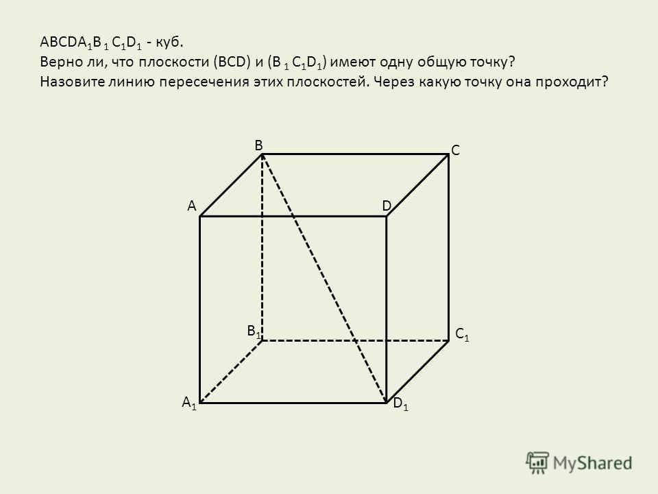АВСDA 1 B 1 C 1 D 1 - куб. Верно ли, что плоскости (BCD) и (B 1 C 1 D 1 ) имеют одну общую точку? Назовите линию пересечения этих плоскостей. Через какую точку она проходит? B1B1 C1C1 D1D1 D С В А A1A1