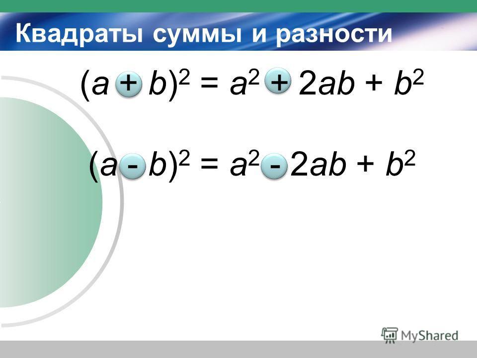 Квадраты суммы и разности (а + b) 2 = a 2 + 2ab + b 2 (а - b) 2 = a 2 - 2ab + b 2