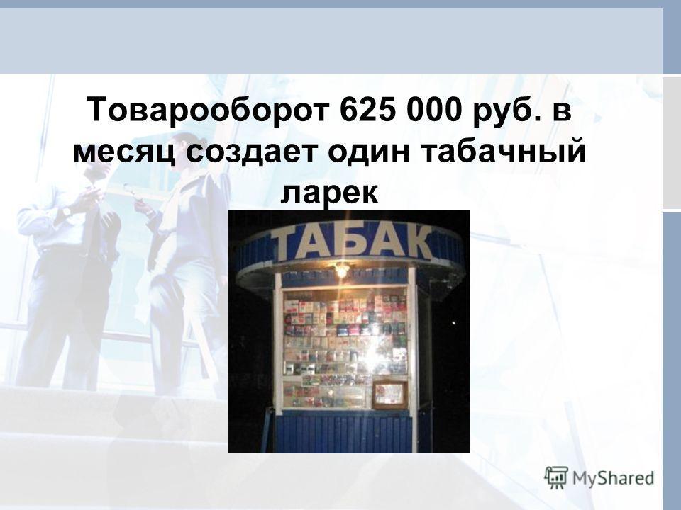 Товарооборот 625 000 руб. в месяц создает один табачный ларек