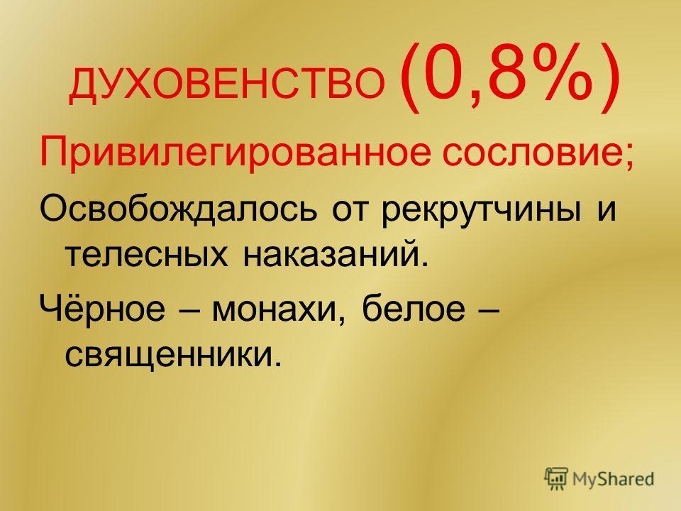 ДУХОВЕНСТВО (0,8%) Привилегированное сословие; Освобождалось от рекрутчины и телесных наказаний. Чёрное – монахи, белое – священники.