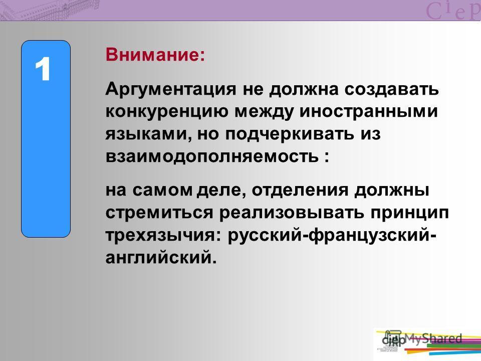 1 Внимание: Аргументация не должна создавать конкуренцию между иностранными языками, но подчеркивать из взаимодополняемость : на самом деле, отделения должны стремиться реализовывать принцип трехязычия: русский-французский- английский.