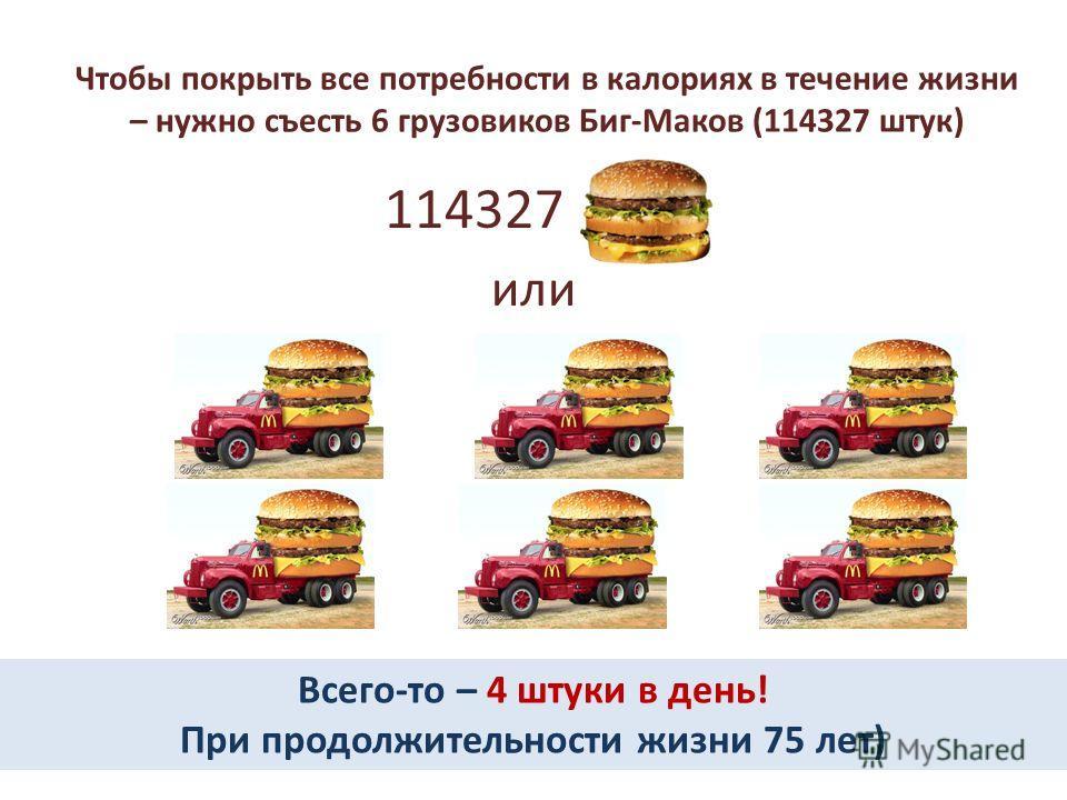 Чтобы покрыть все потребности в калориях в течение жизни – нужно съесть 6 грузовиков Биг-Маков (114327 штук) 114327 или Всего-то – 4 штуки в день! При продолжительности жизни 75 лет)
