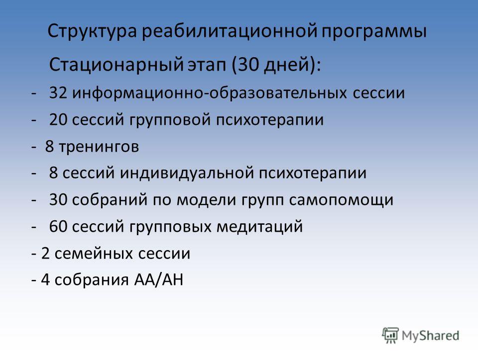 Структура реабилитационной программы Стационарный этап (30 дней): -32 информационно-образовательных сессии -20 сессий групповой психотерапии - 8 тренингов -8 сессий индивидуальной психотерапии -30 собраний по модели групп самопомощи -60 сессий группо