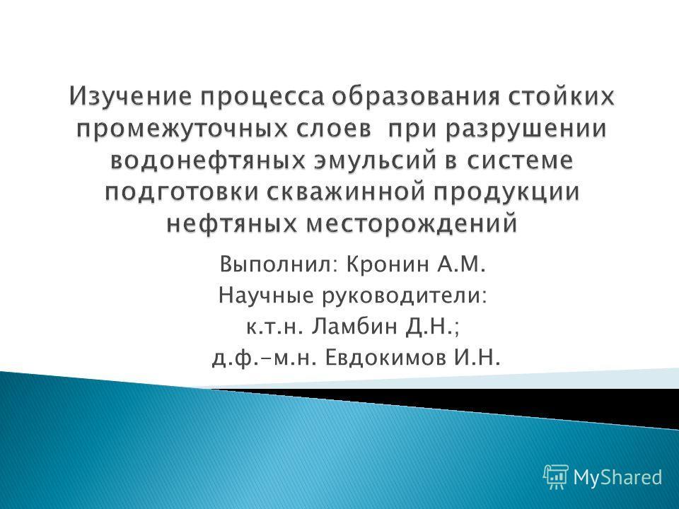 Выполнил: Кронин А.М. Научные руководители: к.т.н. Ламбин Д.Н.; д.ф.-м.н. Евдокимов И.Н.