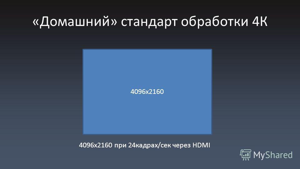 «Домашний» стандарт обработки 4К 4096x2160 при 24кадрах/сек через HDMI 4096x2160