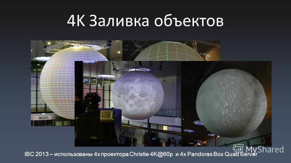 4K Заливка объектов IBC 2013 – использованы 4x проектора Christie 4K@60p и 4x Pandoras Box Quad Server