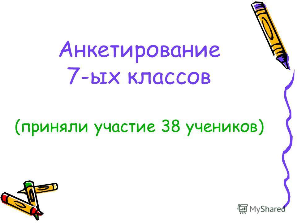Анкетирование 7-ых классов (приняли участие 38 учеников)