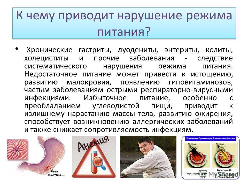 К чему приводит нарушение режима питания? Хронические гастриты, дуодениты, энтериты, колиты, холециститы и прочие заболевания - следствие систематического нарушения режима питания. Недостаточное питание может привести к истощению, развитию малокровия