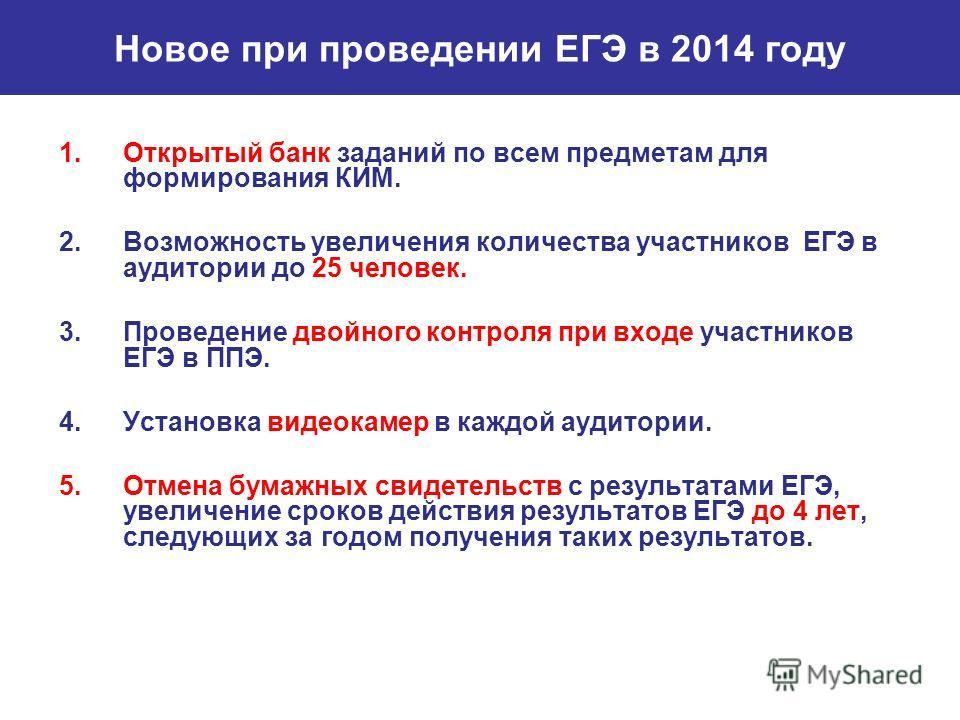 Новое при проведении ЕГЭ в 2014 году 1.Открытый банк заданий по всем предметам для формирования КИМ. 2.Возможность увеличения количества участников ЕГЭ в аудитории до 25 человек. 3.Проведение двойного контроля при входе участников ЕГЭ в ППЭ. 4.Устано