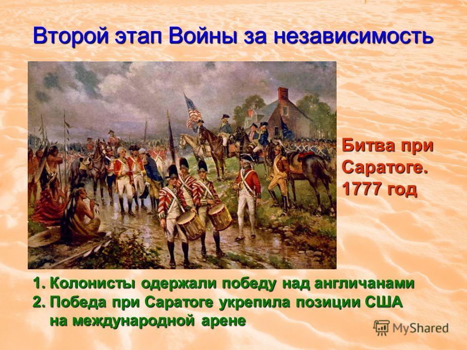 Второй этап Войны за независимость 1. Колонисты одержали победу над англичанами 2. Победа при Саратоге укрепила позиции США на международной арене на международной арене Битва при Саратоге. 1777 год