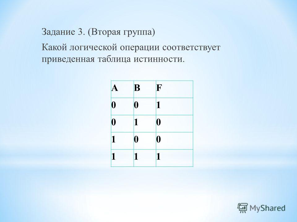 Задание 3. (Вторая группа) Какой логической операции соответствует приведенная таблица истинности. АВF 001 010 100 111