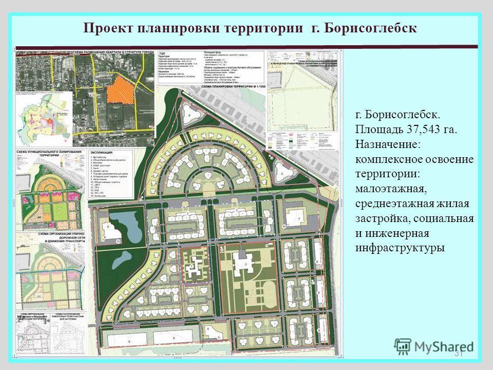 31 Проект планировки территории г. Борисоглебск г. Борисоглебск. Площадь 37,543 га. Назначение: комплексное освоение территории: малоэтажная, среднеэтажная жилая застройка, социальная и инженерная инфраструктуры