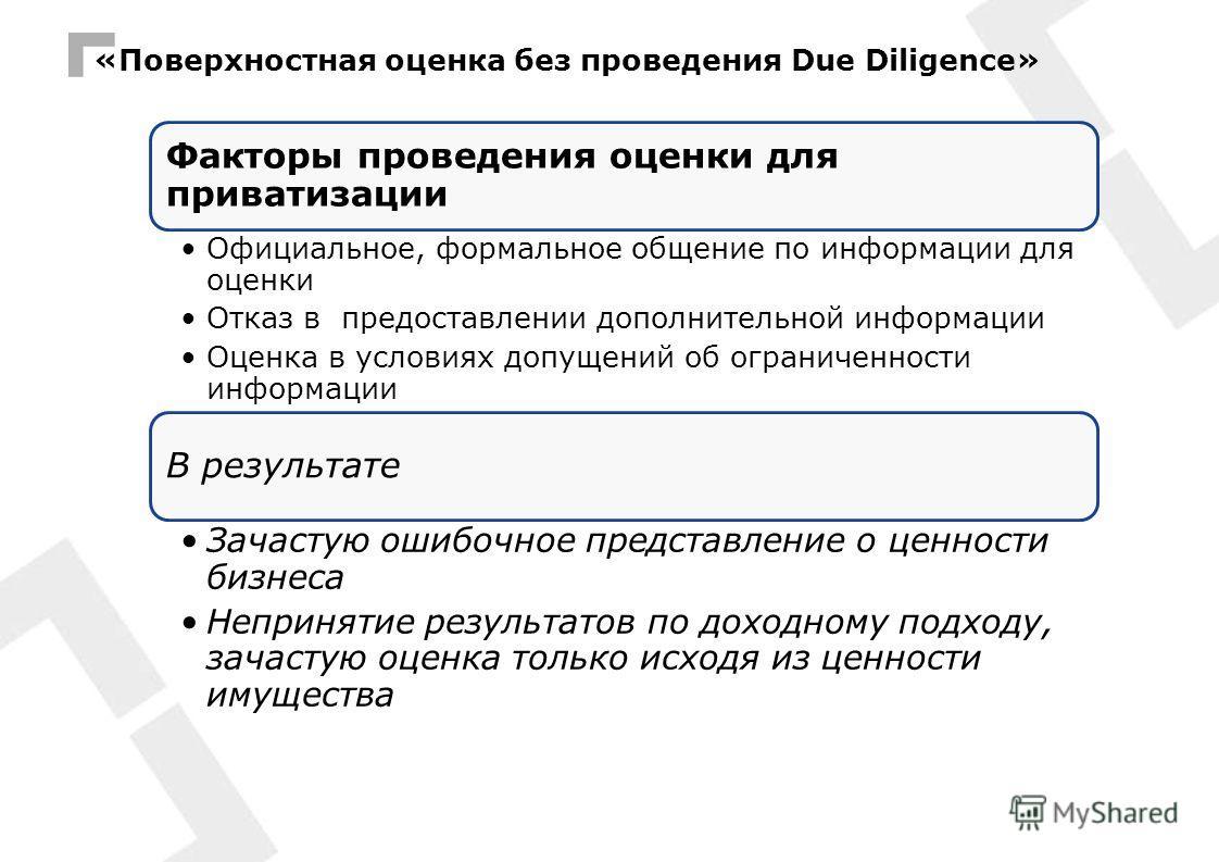 «Поверхностная оценка без проведения Due Diligence» Факторы проведения оценки для приватизации Официальное, формальное общение по информации для оценки Отказ в предоставлении дополнительной информации Оценка в условиях допущений об ограниченности инф