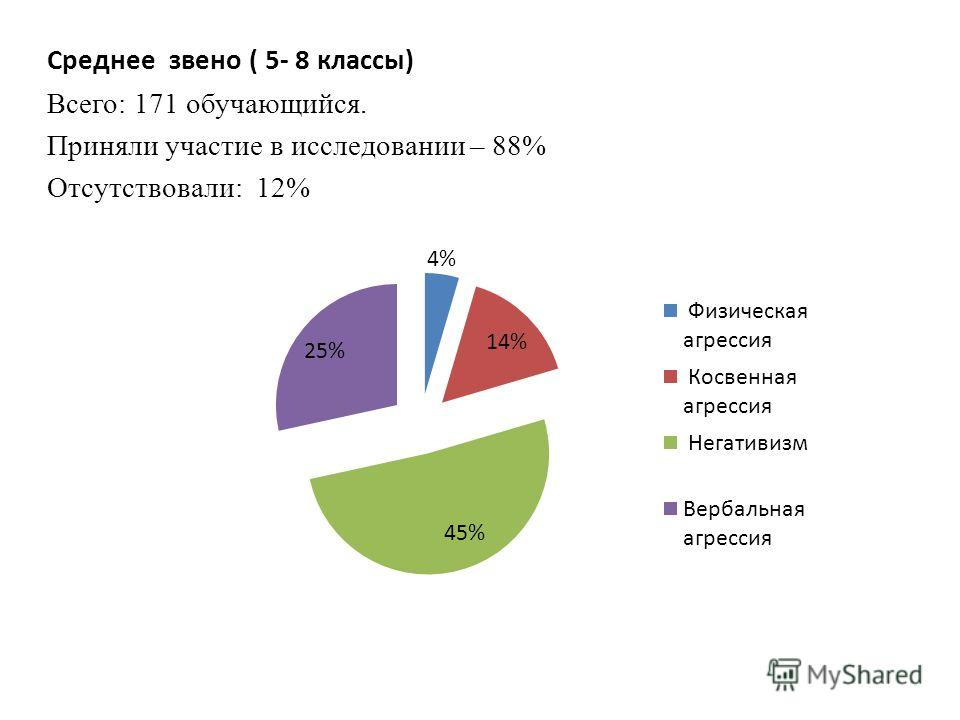 Среднее звено ( 5- 8 классы) Всего: 171 обучающийся. Приняли участие в исследовании – 88% Отсутствовали: 12%