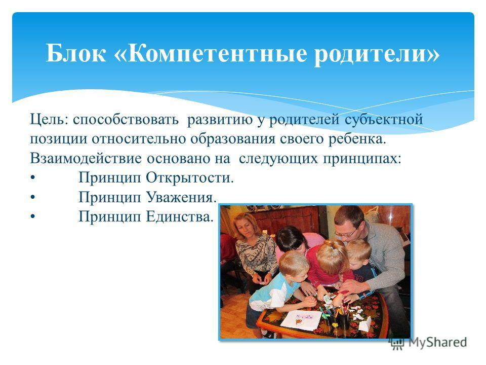 Блок «Компетентные родители» Цель: способствовать развитию у родителей субъектной позиции относительно образования своего ребенка. Взаимодействие основано на следующих принципах: Принцип Открытости. Принцип Уважения. Принцип Единства.