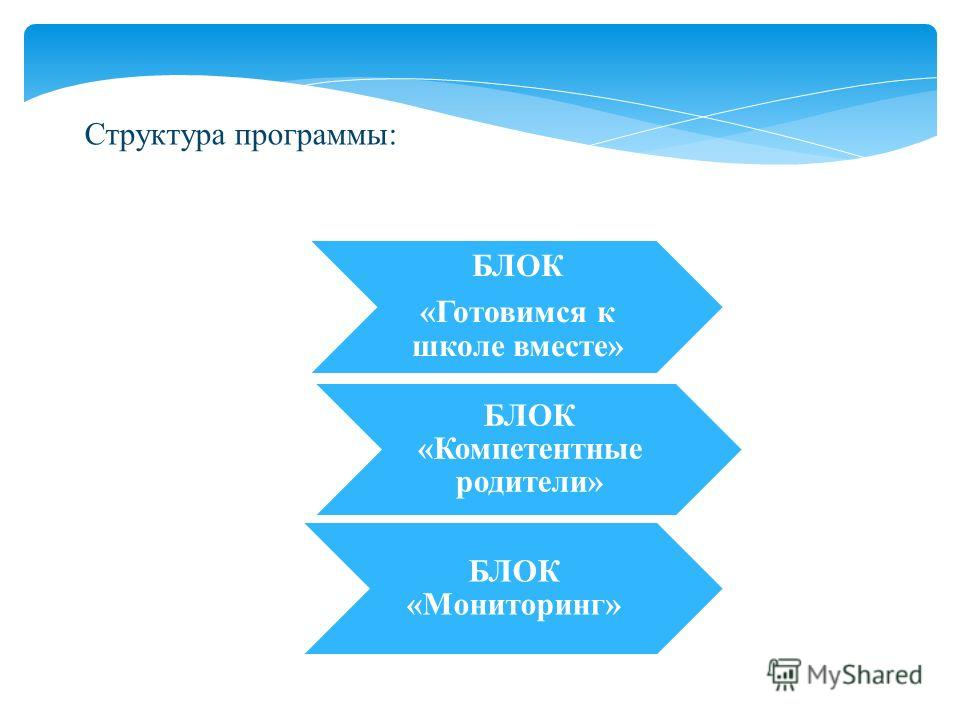 Структура программы: БЛОК «Мониторинг» БЛОК «Готовимся к школе вместе» БЛОК «Компетентные родители»