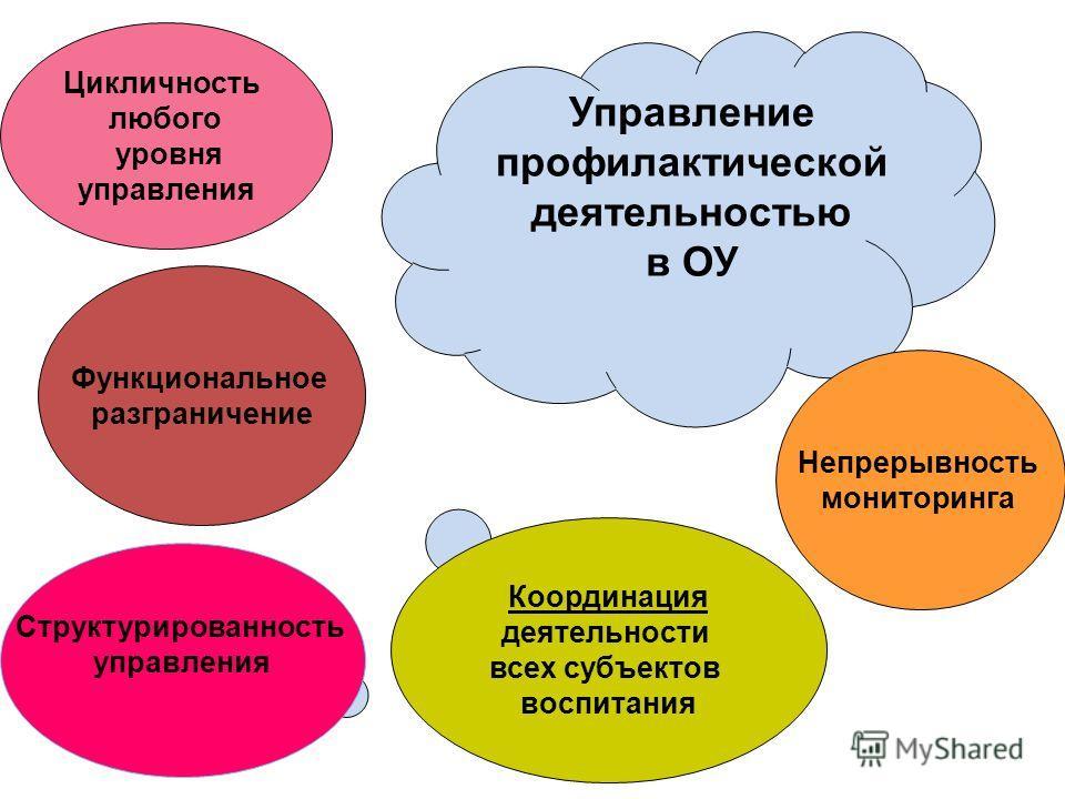 Цикличность любого уровня управления Функциональное разграничение Координация деятельности всех субъектов воспитания Непрерывность мониторинга Управление профилактической деятельностью в ОУ Структурированность управления