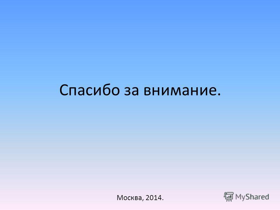 Спасибо за внимание. Москва, 2014.