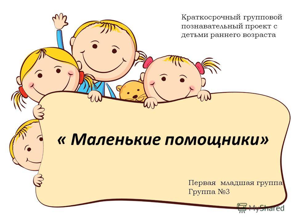 « Маленькие помощники» Краткосрочный групповой познавательный проект с детьми раннего возраста Первая младшая группа Группа 3