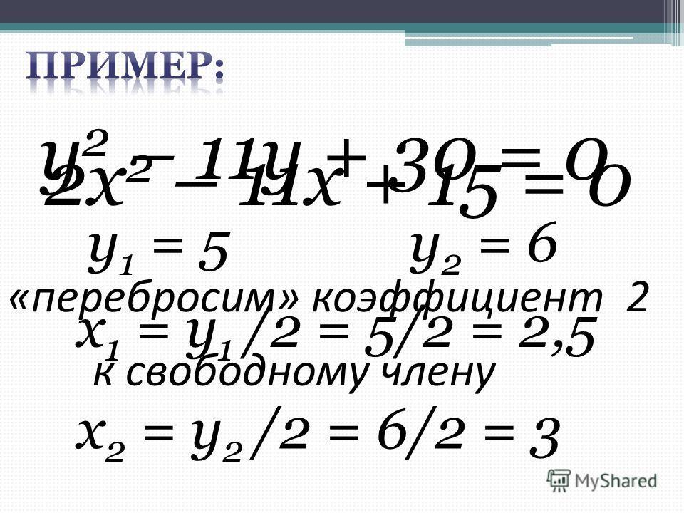 2х 2 – 11х + 15 = 0 «перебросим» коэффициент 2 у 2 – 11у + 30 = 0 к свободному члену у 1 = 5 у 2 = 6 х 1 = у 1 /2 = 5/2 = 2,5 х 2 = у 2 /2 = 6/2 = 3