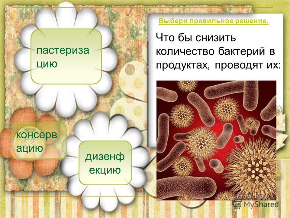пастериза цию консерв ацию дизенф екцию Что бы снизить количество бактерий в продуктах, проводят их: Выбери правильное решение.