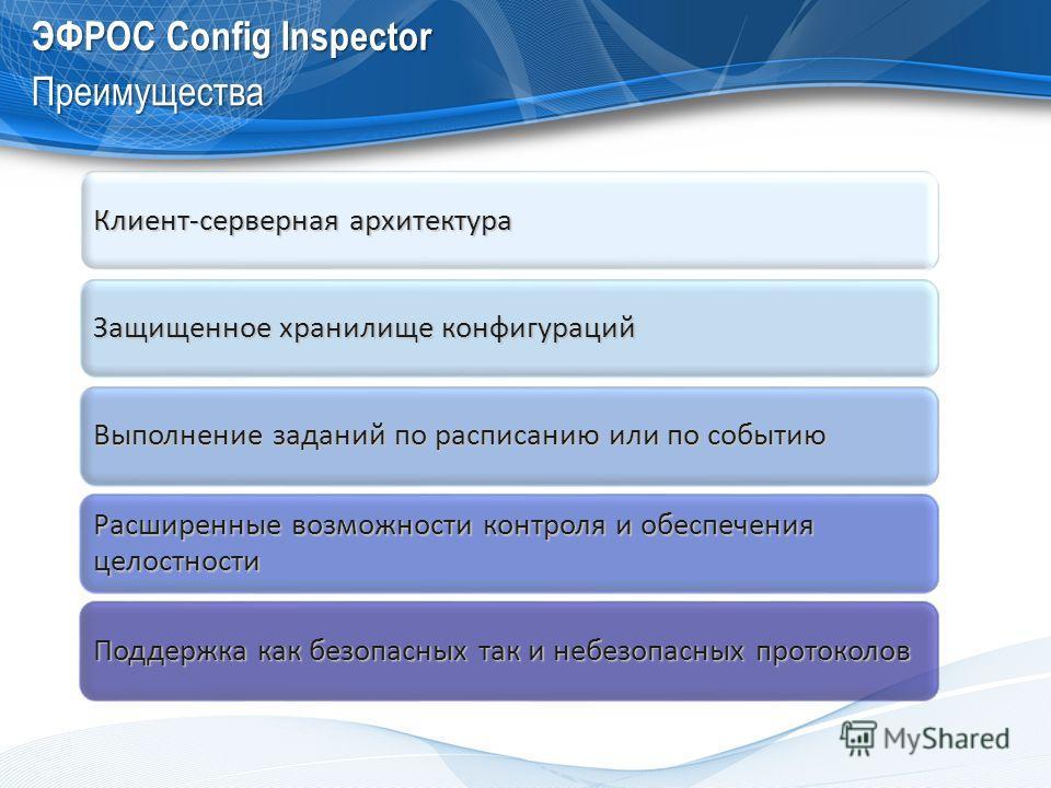 ЭФРОС Config Inspector Преимущества Клиент-серверная архитектура Защищенное хранилище конфигураций Выполнение заданий по расписанию или по событию Расширенные возможности контроля и обеспечения целостности Поддержка как безопасных так и небезопасных