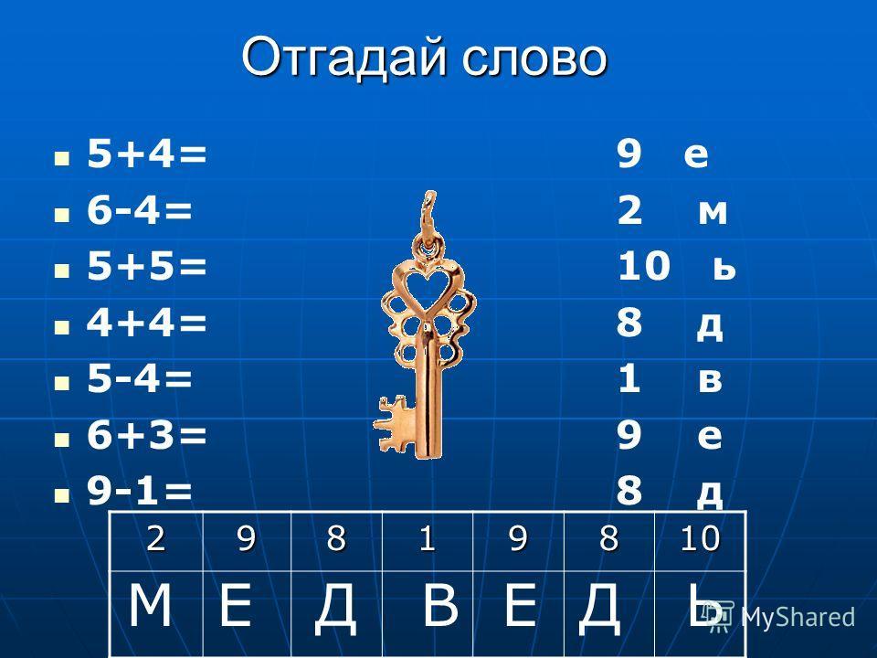 Отгадай слово 5+4= 6-4= 5+5= 4+4= 5-4= 6+3= 9-1= 9 е 2 м 10 ь 8 д 1 в 9 е 8 д29819810 М Е Д В Е Д Ь