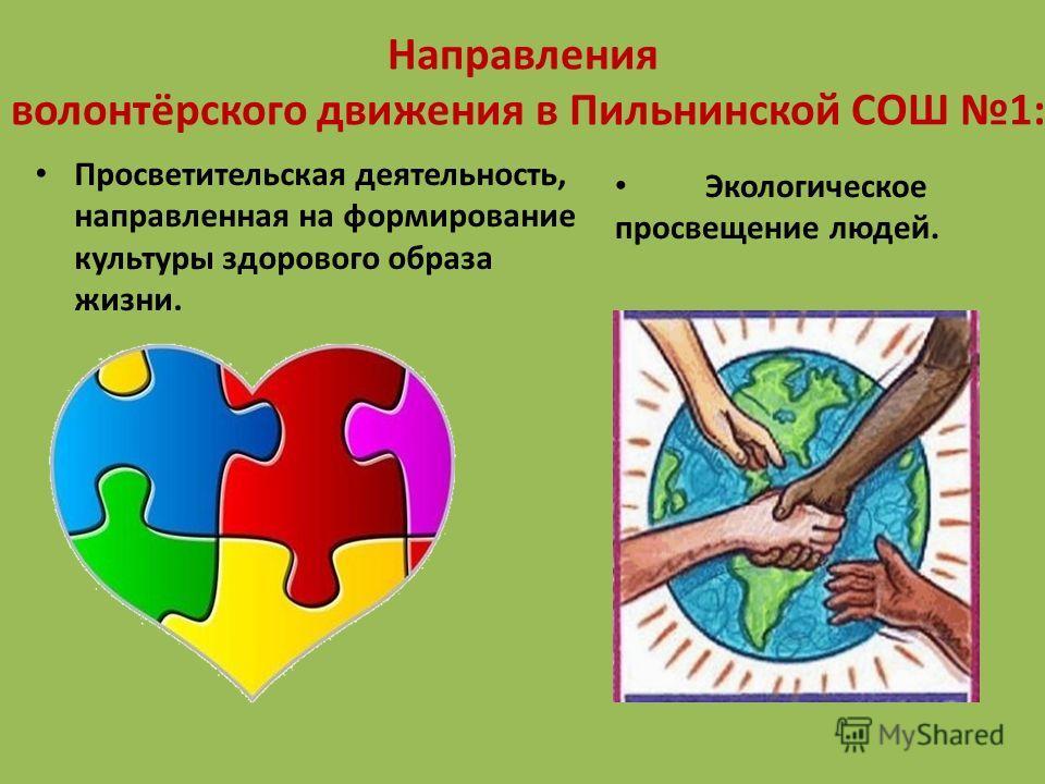Направления волонтёрского движения в Пильнинской СОШ 1: Экологическое просвещение людей. Просветительская деятельность, направленная на формирование культуры здорового образа жизни.