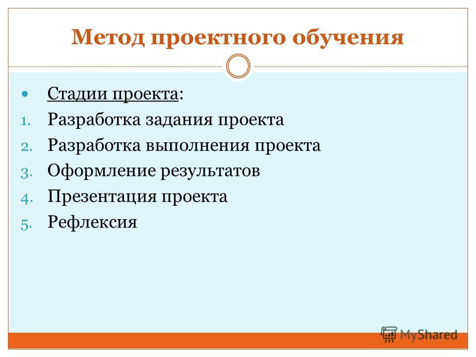 Метод проектного обучения Стадии проекта: 1. Разработка задания проекта 2. Разработка выполнения проекта 3. Оформление результатов 4. Презентация проекта 5. Рефлексия