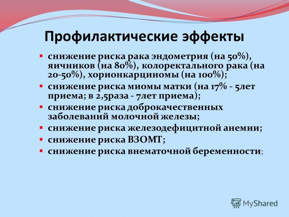 Профилактические эффекты снижение риска рака эндометрия (на 50%), яичников (на 80%), колоректального рака (на 20-50%), хорионкарциномы (на 100%); снижение риска миомы матки (на 17% - 5лет приема; в 2,5раза - 7лет приема); снижение риска доброкачестве
